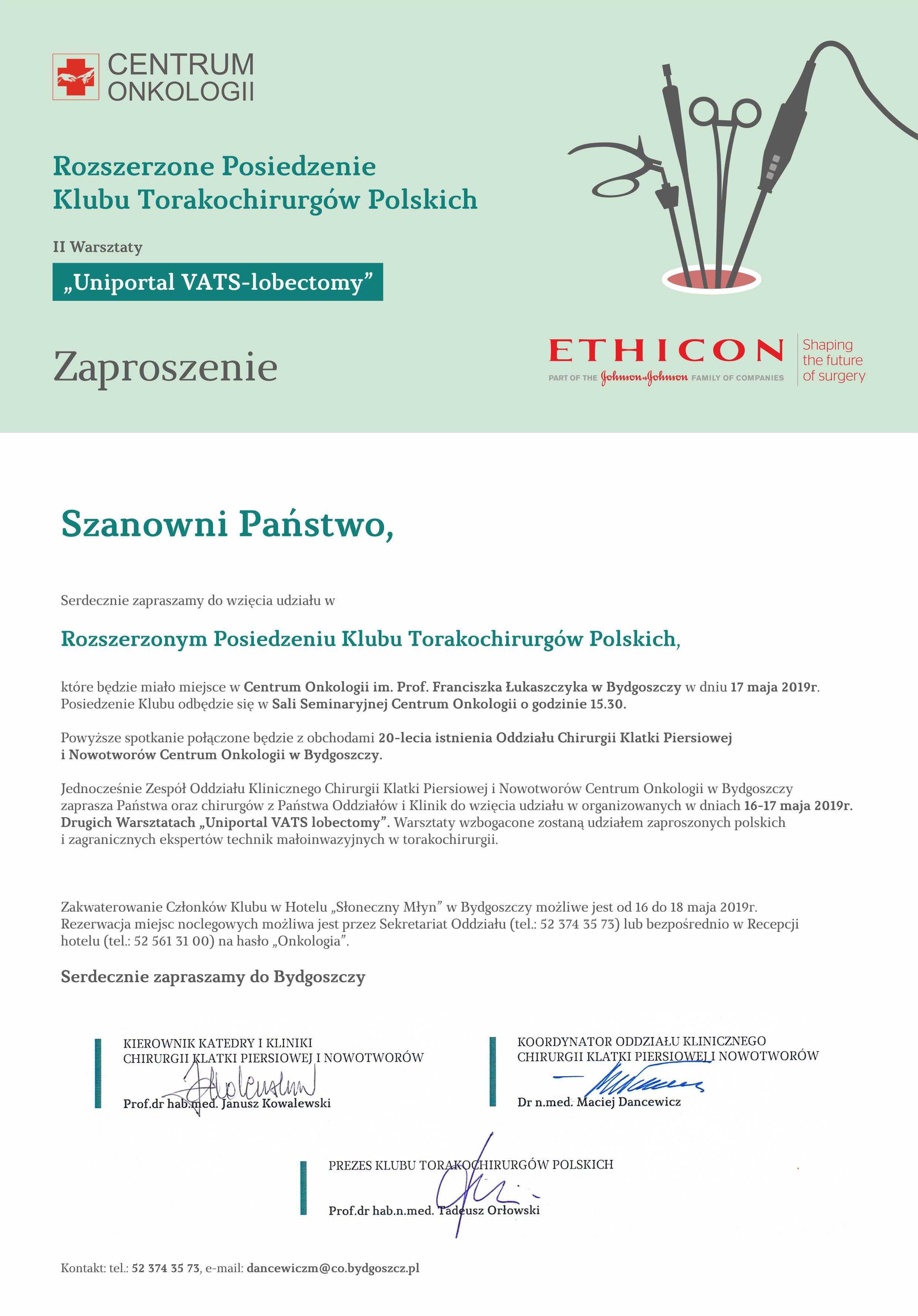 II Warsztaty Uniportal VATS-lobectomy wraz z Rozszerzonym Posiedzeniem Klubu Torakochirurgów Polskich